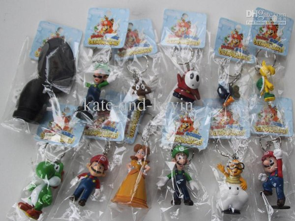 Free Shipping Super Mario Bros 12pcs/set Bros PVC Action figures Toys Dolls Super Mario Key buckle keychain