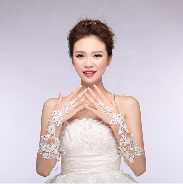 Free shipping Brand Stylish Wedding accessory Fingerless Elbow length Holy Bridal Gloves Soft Lace Satin Gloves Wedding ST012