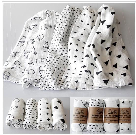 best selling INS Baby 100% Muslin Cotton Swaddles Newborn Blankets Double Layer Gauze infant Bath Towel Hold Wraps 120*120cm