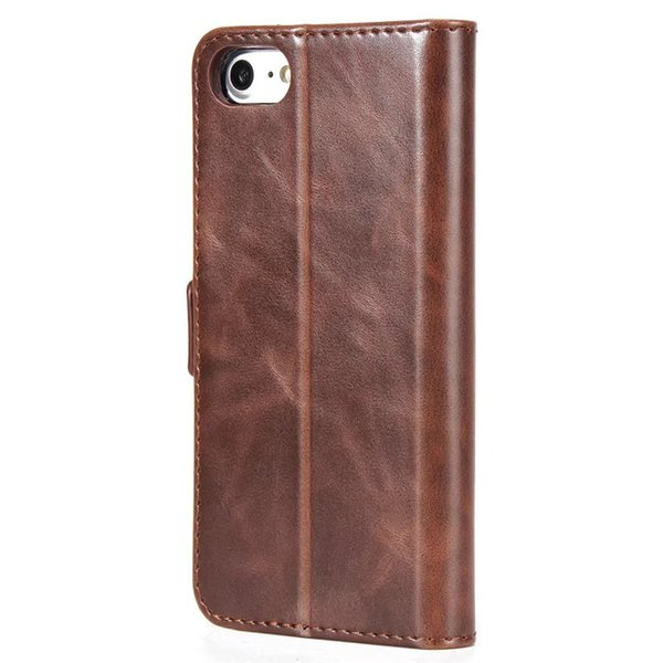 The retro business style high - grade crazy horse double - fold sideband card can support for iPhone X leather case