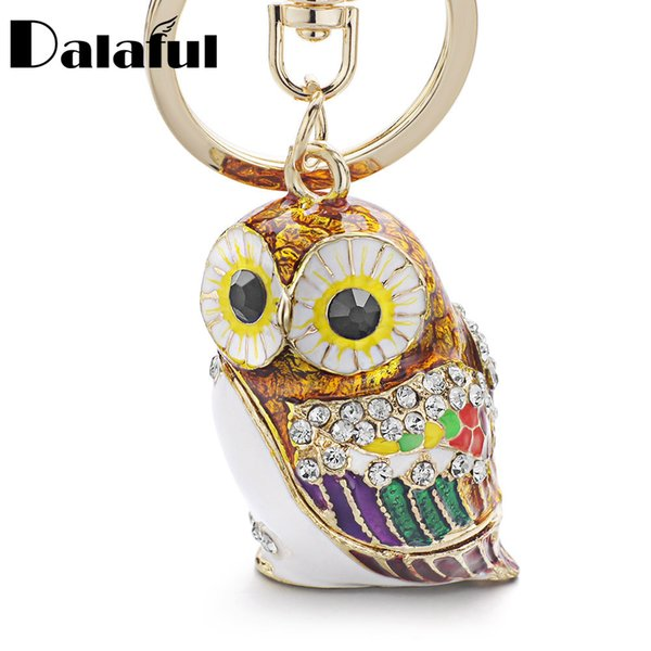 beijia Fashion 3D Owl Keyrings Keychains Crystal Rhinestones Enamel Glazing Key Chain Ring Holder For Car K342