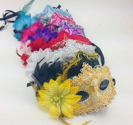 2016 New Masquerade Masks Women Lace diamond Mask Handmade Venetian Leather Flower Masquerade Party Mask Sexy Princess Dance Wedding Birthda