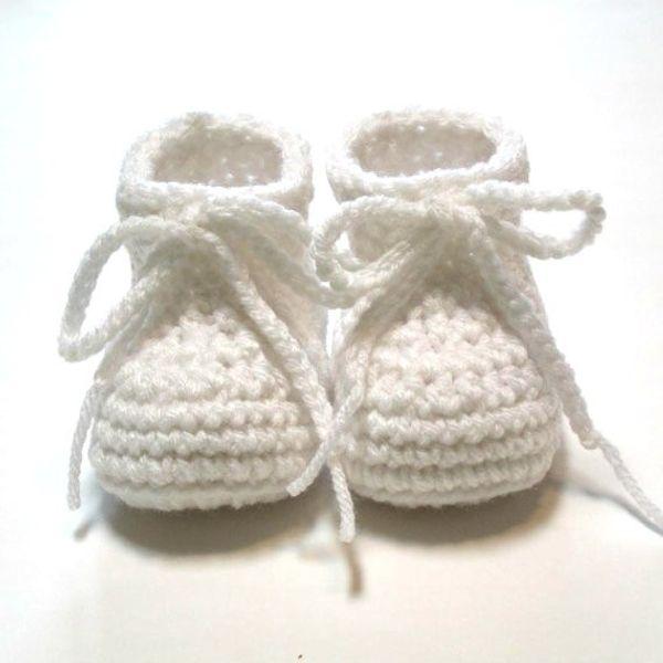 Großhandel Weiße Babyschuhe Gehäkelte Babyschuhe Für Taufe Oder Taufe Auf Bestellung 0 3 Monate Unisex Baby Booties0 24m Baumwollgarn Von Adrate