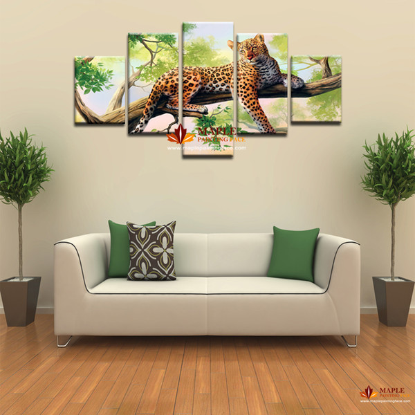 Canvas Art Wall Unframed 5 Pcs leopard Picture Print Painting Modern Canvas Wall Art for Wall Decor Home Decoration Artwork