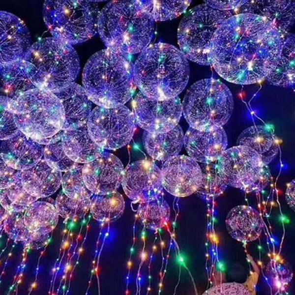 3 Em 1 Luminosa Led Balão Colorido Transparente Rodada Bolha Decoração Balões De Casamento Festa de Iluminação No Escuro 3 m Corda 3