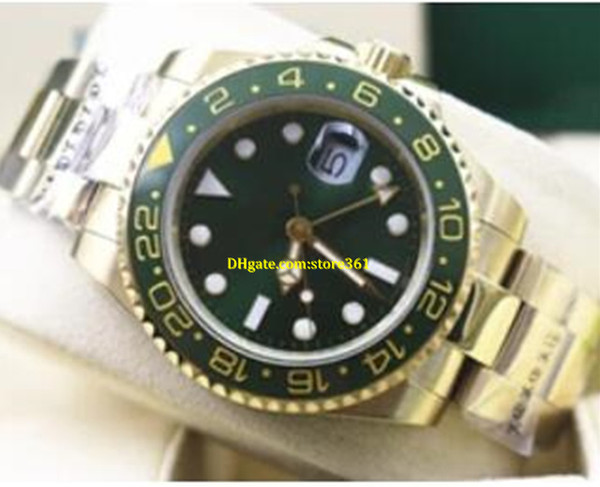 Free Shipping Free Shipping Luxury Green Dial And Ceramic Bezel 116718 18k yellow Gold GMT Automatic mechanical Watch 40MM Mens gifts Wrist