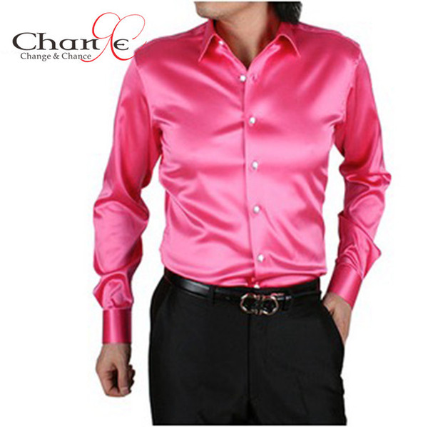 Wholesale-Quality Mens Shirts Fashion 2015 Satin Silk Men Long Sleeve Shirt Solid Color 20 Men Dress Shirt S-3XL Plus Size blusa masculina
