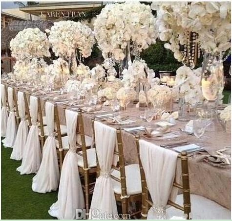 Simple But Elegant White Chiffon Wedding Chair Cover And Sashes Romantic Bridal Party Banquet Chair Back Wedding Favors
