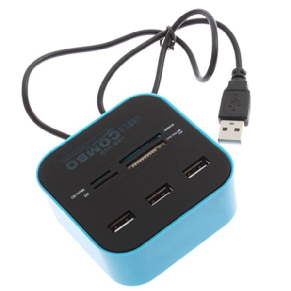 Wholesale-Hot Sale USB COMBO 3 port usb hub 2.0 HUB+multi USB card reader All In One for SD/MMC/M2/MS/MP Pro Duo Many colors