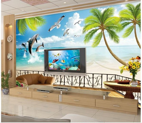Custom 3d mural wallpaper European style 3D stereoscopic Dolphin Bay living room TV backdrop bedroom 3d photo wallpaper 20158198