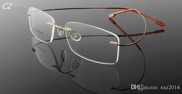 Cheap wholesale fashion and contracted unisex super light optical myopia rimless memory frame 1190 style 10 color for prescription glasses