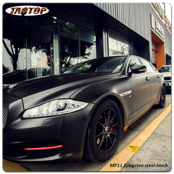 Nuovo popolare 1.52 * 20 m MP11 acciaio al tungsteno nero acciaio al tungsteno nero opaco chome car wrapping rotolo di vinile adesivo auto