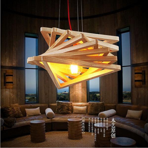 Novelty Modern Handmade Wood Pendant Lights For Bar Restaurant ...