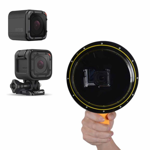 Freeshipping Waterproof Go pro Dome Port W/ Floating Hand Selfie Stick For GoPro Hero 2 3 3+ 4 4session 5session Xiaomiyi I Camera