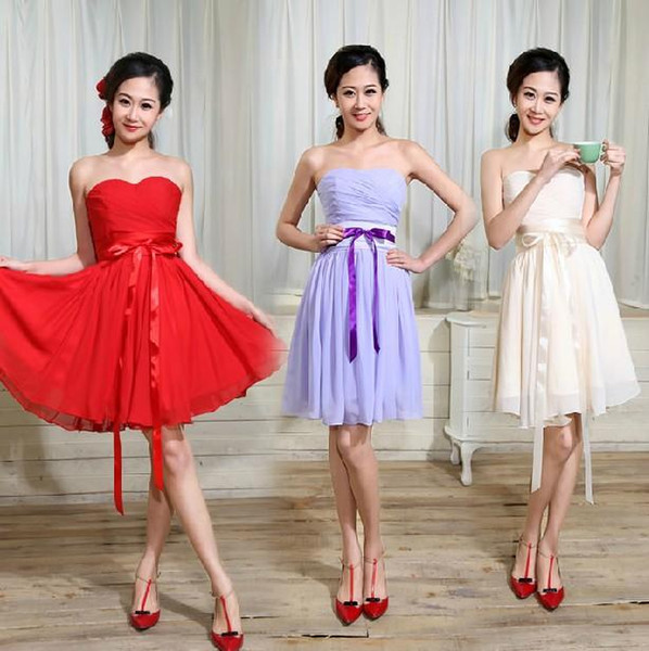 New Red Violet Champagne Fashion ball gown strapless draped knee-length/Short Bridesmaid Dresses with sash 2015 party gowns