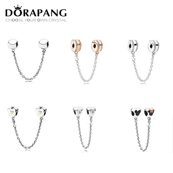 DORAPANG 100% 925 Sterling silver Love Clear CZ Security Chain Charm bead Collocation Bracelet DIY bangle factory wholesale