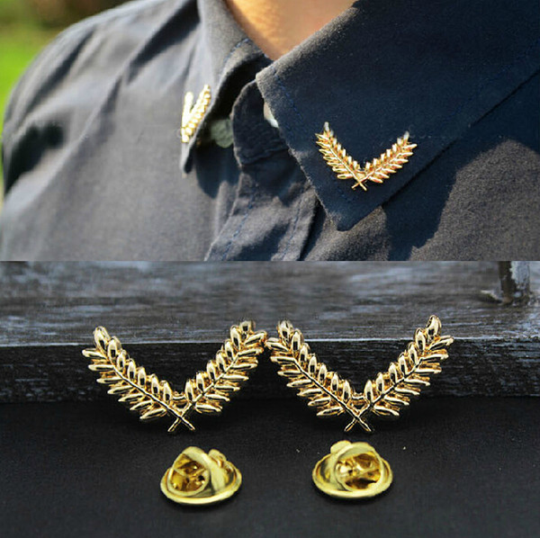 Women Men Unisex Leaves Collar Pin Brooch European Style Gold Plated Alloy Leaves Collar Pin Brooch