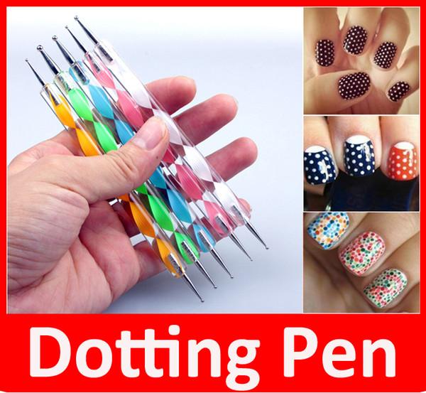 5 PCS 2Way Marbleizing Pontilhando Manicure Ferramentas Pintura Caneta Nail Art Paint 5 PCS um conjunto Frete Grátis