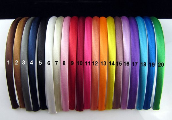 10pcs/lot 10 mm Colored Satin covered Resin Hairbands Fashion Hair Band Baby Headband Hair accessories