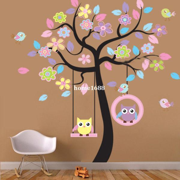 Etiqueta engomada grande del PVC de la etiqueta engomada de la pared del oscilación del árbol del pájaro del búho para el sitio del cuarto de niños del niño que sorprende