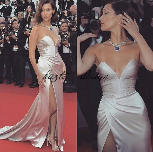 Sexy Strapless Red Carpet Celebrity Dresses 2018 Modest Silk Stain Mermaid Split Fishtail Occasion Prom Party Formal Gowns Cheap