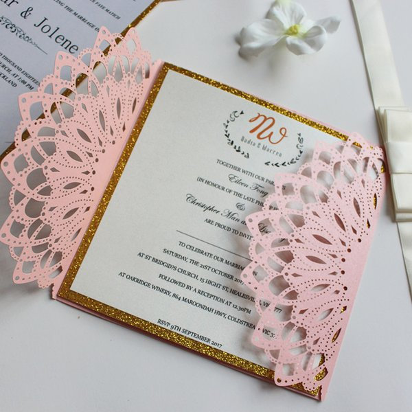Custom Made Invitation Card For Wedding Engagement Anniversary Pink Gold Inner Card Free Printing Free Ship Sample Wedding Invitations Simple Wedding