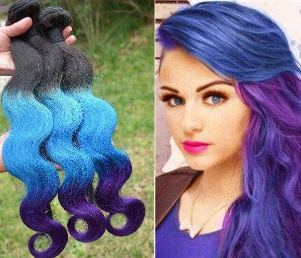 Ombre Brazilian Hair Weaves Extensions Body Wave T1b Blue Purple