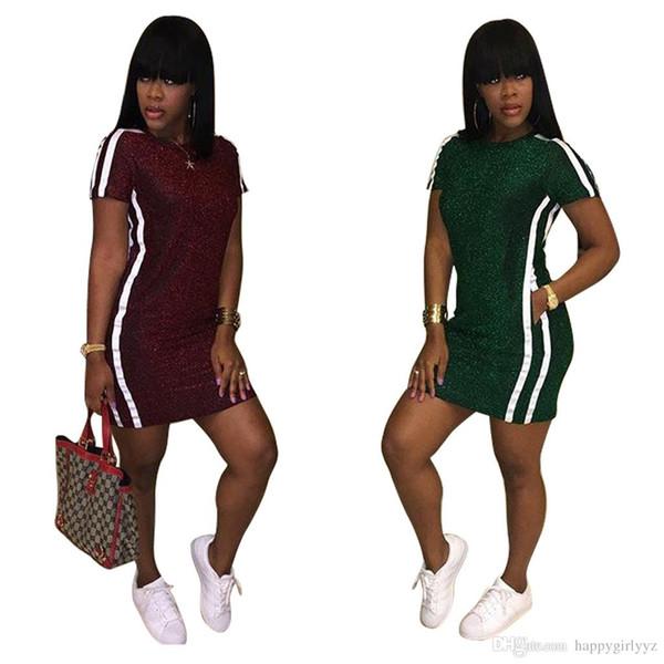 Europe fashion Fluorescence Striped short sleeve sport dress women plus size summer spring autumn casual pocket dress long t shirt tops