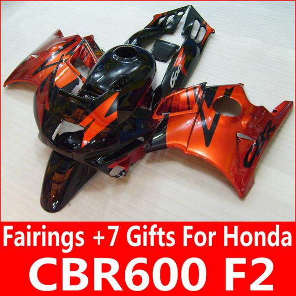 Kit de carénage noir orange brûlé pour Honda CBR600 F2 1991 1992 1993 1994 carénages orange CBR 600 F2 91 92 93 94
