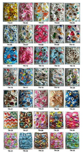 top popular 2016 New Cartoon Diapers Print Baby Nappies Prints Modern Kid Cloth Diapers WithOUT Insert 35 color you can choosen 5pcs  lots 2021