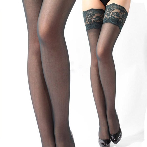 Sexy Womens Lace Top Silicone Band Thigh High Stockings Pantyhose Partner