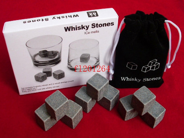 best selling 50sets lot(9pcs set) Free Shipping Whisky Ice Cube Stones Soapstone Rocks Drinks Beer Cooler Great Gift With Velvet Bag