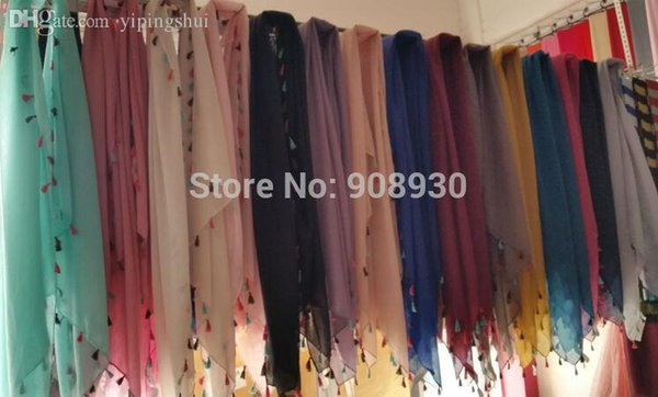 Wholesale-Fashion plain hijabs colorful fringes/tassels four sides ladies soft solid scarf shawl hot sale muffler