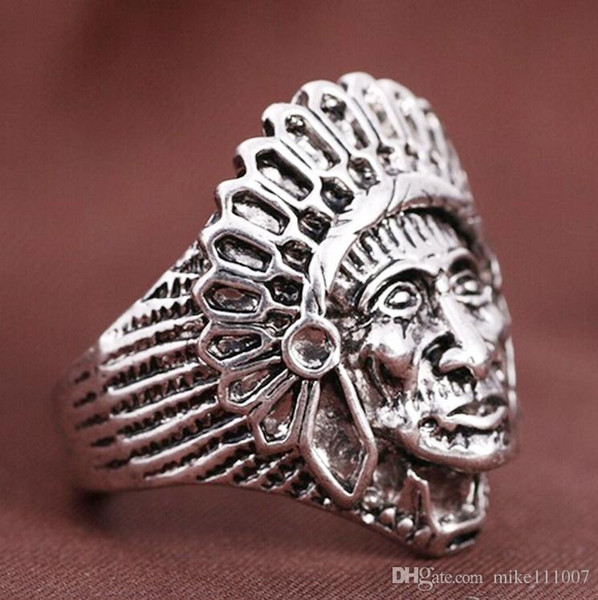Punk Silver Ring Brand Indian Antique Silver Ring Mohican Head Biker Vintage Stainless Steel Face Ancient Indian chief index finger For Men