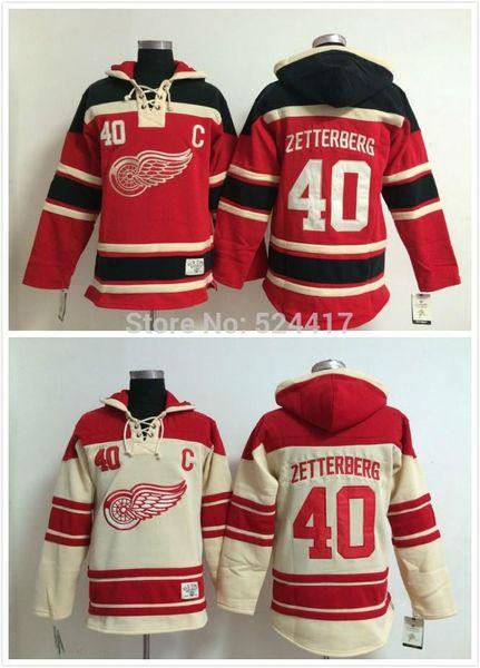 Sweat-shirt 2015 # 40 Henrik Zetterberg Old Time Detroit Red wings Chandails de chandail en jersey à capuchon de hockey, cousus et cousus.