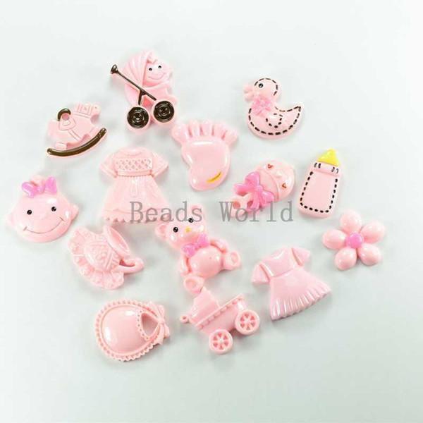 Spedizione gratuita 28 pz misto rosa serie bambino resina cabochon flatback scrapbook abbellimento fai da te decorazione del telefono 19x18mm (w03799)