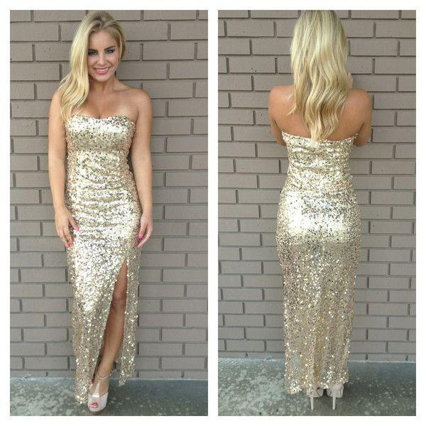 Silver Sequined 2015 Sexy Evening Prom Dresses with Side Slit Ankle Length Strapless Party Gowns Custom Made Sheath Bridesmaids Dresses