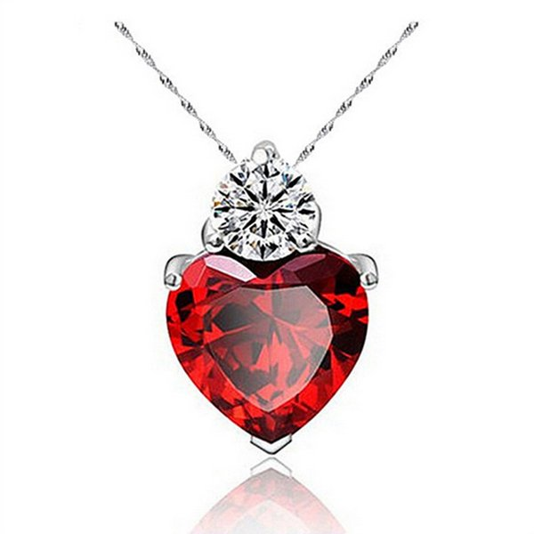 New Fashion Jewelry Hot Gift 18K White Gold Plated Clear Cubic Zirconia CZ Red Ruby Stone Heart Pendant Necklace for Women