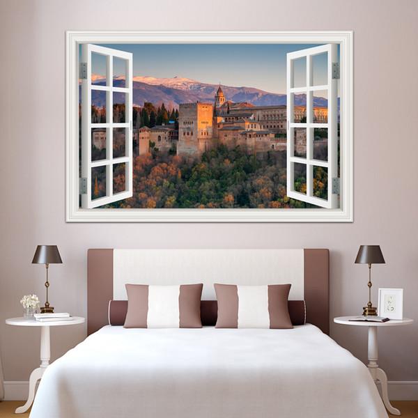 Abnehmbare Decals 3D Fenster Ansicht Europäischen Gebäude Wandaufkleber Home Decor Aufkleber 3D Wallpaper Landschaft Aufkleber für Futterraum