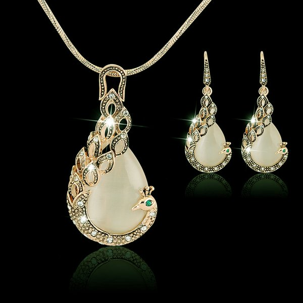 """100% New Brand Retro 18K Gold Plated Crystal Cluster Opal Pretty Peacock 20"""" Necklace Earrings Fashion Vintage Jewelry Sets for Women Gift"""