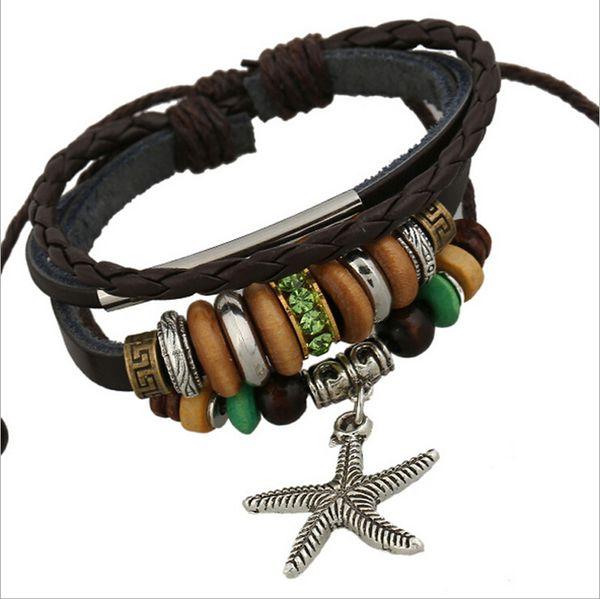 Fashion Starfish Charms Bracciali Infinity in rilievo di legno verde strass lega cerchio bracciali in pelle per uomo gioielli