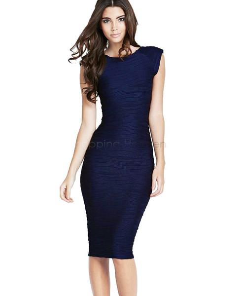 2016 2015 New Navy Blue Sexy Bodycon Big Size Women Office Dresses ...