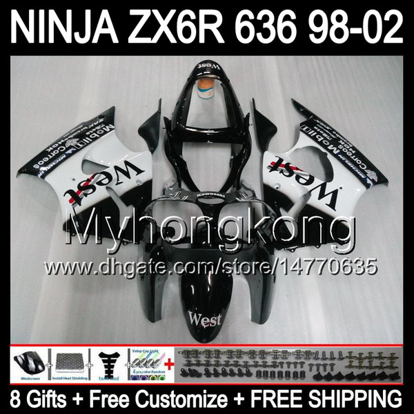 8Gifts + Body per KAWASAKI NINJA ZX6R 98-02 ZX636 Black west ZX 636 MY37 ZX-6R ZX 6R 98 99 00 01 02 1998 1999 2000 2001 2002 Carena bianco