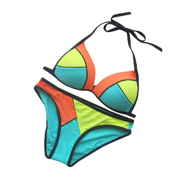 2015 Color Block Women Bikinis Halter Strappy Bra Neoprene Bikini Brazilian Sexy Super Push Up Bikini Swimsuit Swimwear Women FG1511