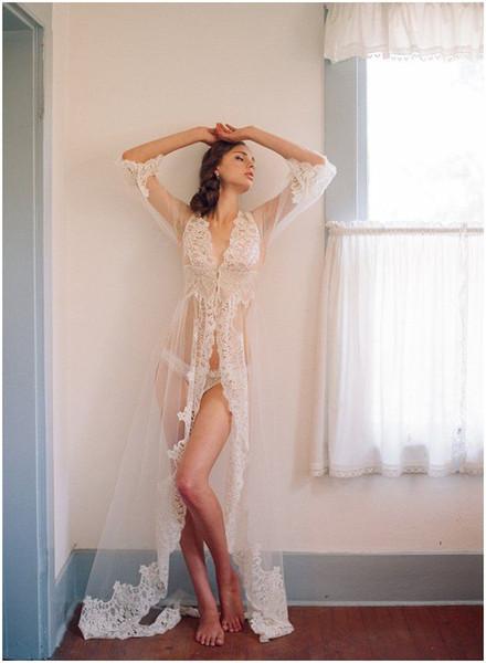 top popular Long Bridal Jackets Sheer Lace Cloth Floor Length Long Sleeves Appliques Lace-up Sexy Bridal Sleeping Cloth Custom Made Free Shipping 2021