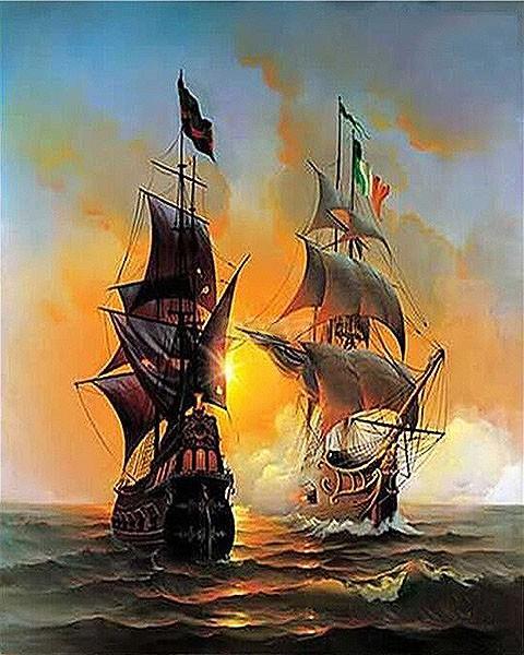 Seascape Sailing Boat Europe Art Canvas Painting DIY Painting By Numbers Oil Painting On Canvas Home Decor 40*50cm