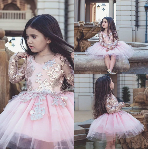 Dollcake Appliqued Flower Girl Dresses Long Sleeves Special Occasion For Weddings Kids Pageant Gowns Knee Length Tulle Party Communion Dress