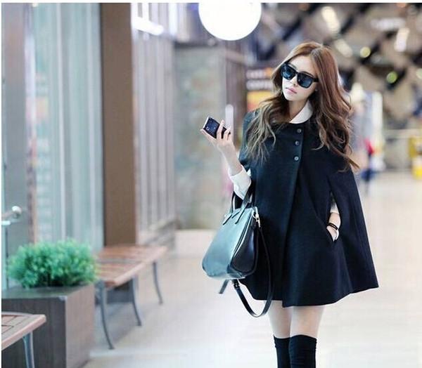 Atacado-Coreano Mulheres Senhoras Batwing Lã de Grandes Dimensões Casuais Poncho Casaco de Inverno Casaco Solto Capuz Capa Outwear Preto Tamanho Grande S-X L H0876