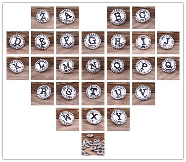 JACK88 DIY 26pcs/lot Initial A-Z Alphabet Snaps 18mm Letter Snap Button Jewelry for Ginger Snap Charm Bracelet Jewelry N041