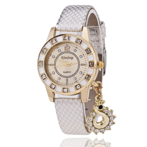 Der neue Diamant-Schwan-Anhänger passt Shell-Armband-Uhrgesicht Präsidenten-beiläufiges ledernes Serpentinentisch HEISSES 230107 auf
